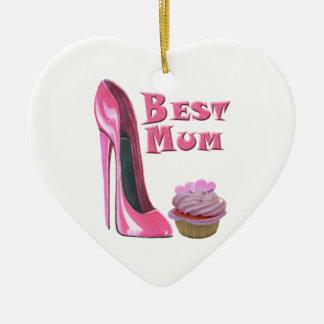 El mejor zapato y corazones rosados Cupcak del Adorno De Cerámica En Forma De Corazón