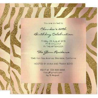 El melocotón de la piel animal del safari de la invitación 13,3 cm x 13,3cm