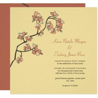 El melocotón rosado florece Sakura que el boda Invitación 13,3 Cm X 13,3cm