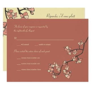 El melocotón rosado florece tarjeta que se casa invitación 10,8 x 13,9 cm