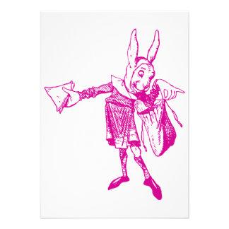 El mensajero blanco del conejo entintó rosa invitación
