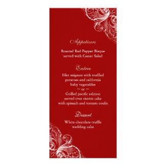 El menú del boda carda blanco rojo del monograma tarjeta publicitaria a todo color