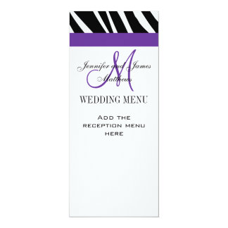 El menú del boda carda la cebra púrpura del invitación 10,1 x 23,5 cm