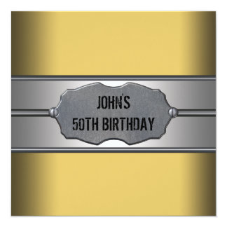 El metal del oro sirve a la 50.a fiesta de invitacion personalizada