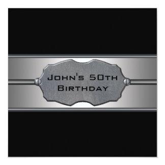 El metal negro sirve a la 50.a fiesta de invitación 13,3 cm x 13,3cm