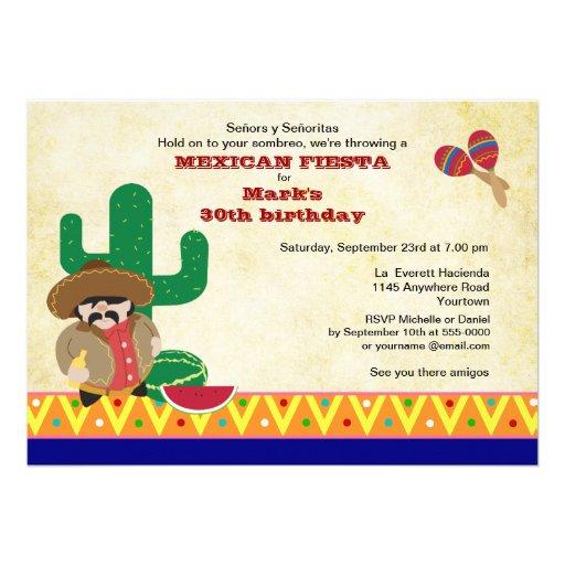 El mexicano Hombre con cumpleaños de la fiesta del Invitacion Personalizada