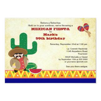 El mexicano Hombre con cumpleaños de la fiesta del Invitación 12,7 X 17,8 Cm