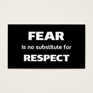 El miedo no es ningún substituto para el negro del tarjeta de negocios