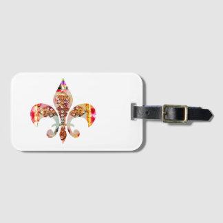 El modelo de la joya de la flor de lis florece la etiquetas para maletas