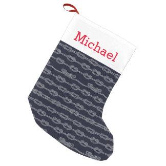 El modelo de nudos marino el | añade su nombre calcetín navideño pequeño