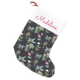 El modelo el | de la palma de la acuarela añade su calcetín navideño pequeño