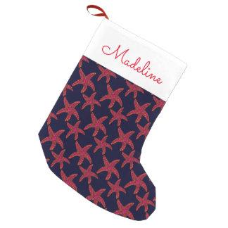 El modelo el | del estilo de las estrellas de mar calcetín de navidad pequeño