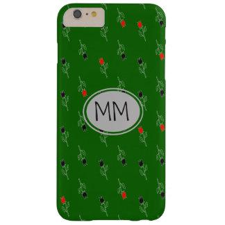 El modelo florece el monograma verde dibujado mano funda barely there iPhone 6 plus