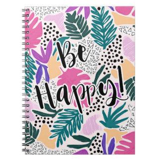El modelo tropical con sea cuaderno feliz de la cuaderno