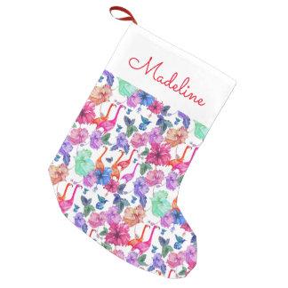 El modelo tropical el | de la acuarela añade su calcetín navideño pequeño