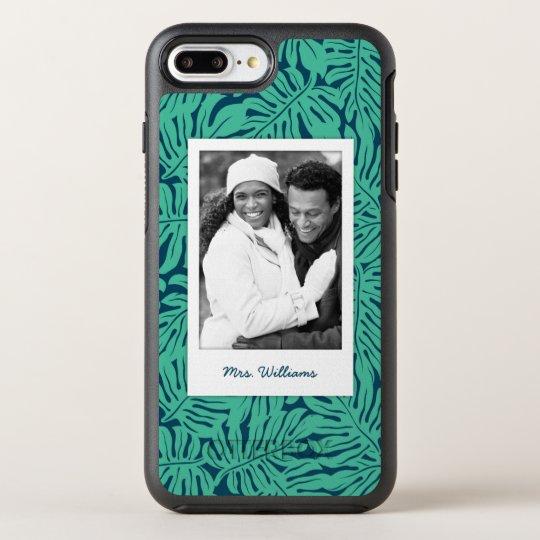 El modelo tropical el | de la hoja añade su foto y funda OtterBox symmetry para iPhone 7 plus