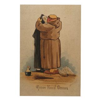 El monje que besa a la monja, amor conquista impresión en madera