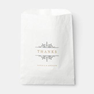 El monograma clásico elegante del boda del vintage bolsa de papel