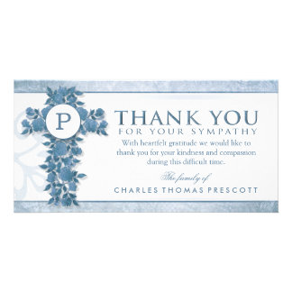 El monograma cruzado floral azul le agradece tarjeta fotográfica personalizada