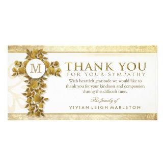 El monograma cruzado floral de oro le agradece tarjetas fotograficas personalizadas