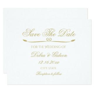 El monograma elegante del blanco y del oro ahorra invitación 10,8 x 13,9 cm