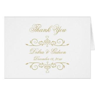 El monograma elegante del blanco y del oro le tarjeta pequeña