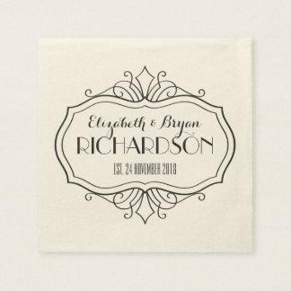 El monograma elegante del boda elige su propia servilleta de papel
