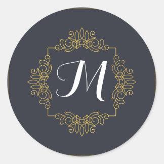 El monograma elegante el | del azul y del oro pegatina redonda