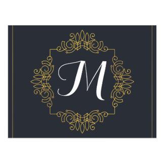 El monograma elegante el | del azul y del oro postal