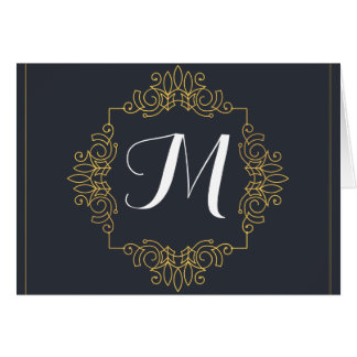 El monograma elegante el | del azul y del oro tarjeta de felicitación