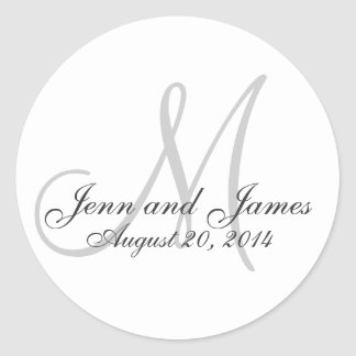 El monograma elegante nombra al pegatina del favor