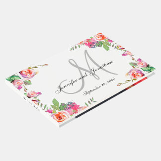 El monograma floral elegante nombra el boda de la libro de invitados