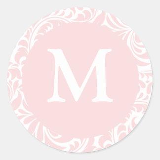 El monograma M se ruboriza diseñador del color inv Etiqueta Redonda