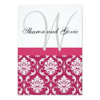 El monograma rosado del damasco nombra la invitación 12,7 x 17,8 cm