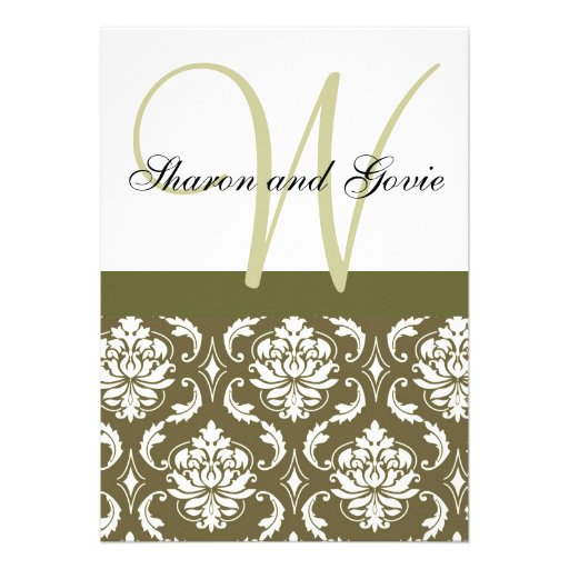 El monograma sabio del damasco nombra la invitació invitacion personalizada