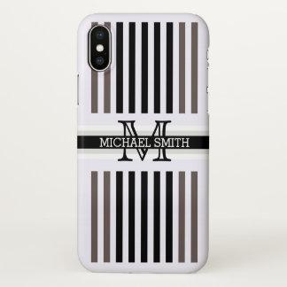 El monograma Wenge negro moderno raya el modelo Funda Para iPhone X