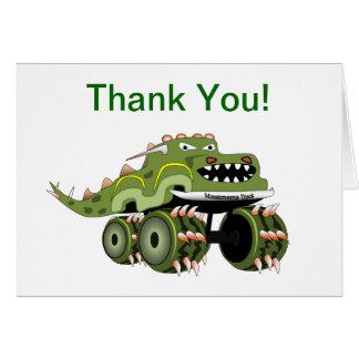 El monster truck del dinosaurio le agradece cardar tarjeta pequeña