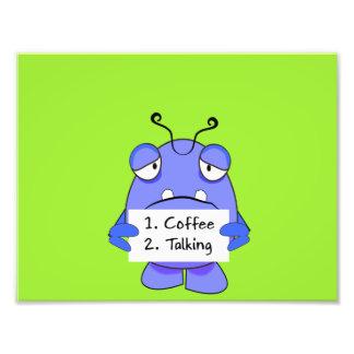 El monstruo azul con café de la mañana gobierna la impresiones fotográficas