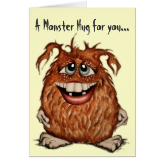 El monstruo lindo abraza la tarjeta de