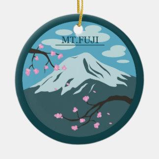El monte Fuji Adorno Navideño Redondo De Cerámica