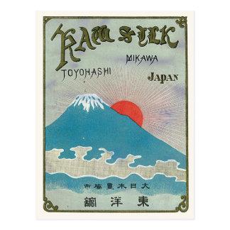El monte Fuji y etiqueta de seda japonesa del Postal
