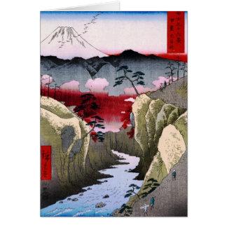 El monte Fuji y pájaros en Japón circa 1800s Tarjeta De Felicitación