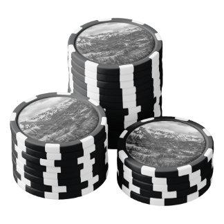 El Monte Rainier blanco y negro Juego De Fichas De Póquer