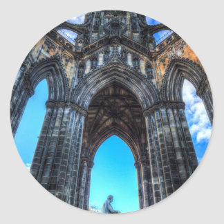 El monumento Edimburgo de Scott Pegatina Redonda