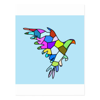 el mosaico azul del color del pájaro vuela postales
