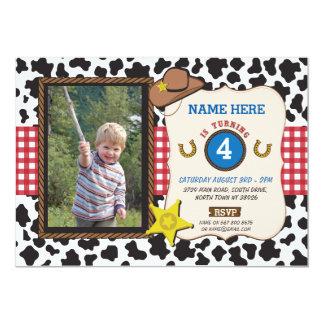 El muchacho de la vaca de la fiesta de cumpleaños invitación 12,7 x 17,8 cm