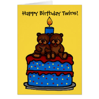 el muchacho gemelo refiere cumpleaños de la torta tarjetas