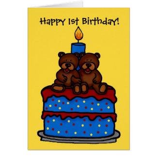 el muchacho gemelo refiere el 1r cumpleaños de la tarjeta de felicitación
