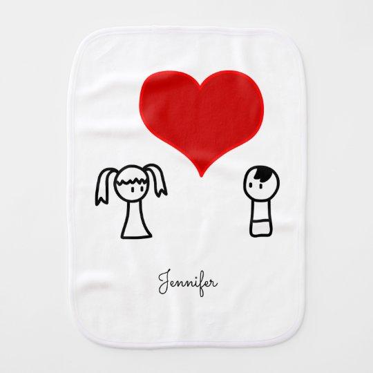 El muchacho y el chica lindos en amor doodle al paños para bebé