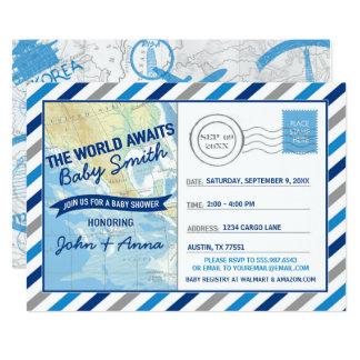 El mundo aguarda la postal del azul de la invitación 12,7 x 17,8 cm